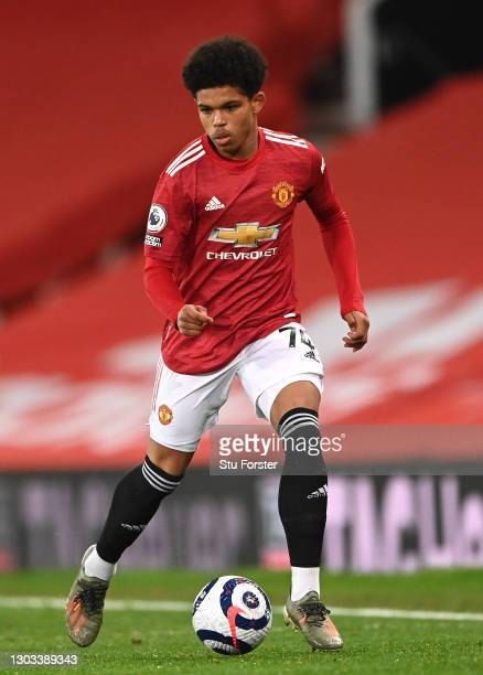 Shola Shoretire of Manchester United in action during the Premier League match between Manchester United and Newcastle United at Old Trafford on...