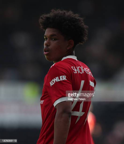 Shola Shoretire of Manchester United in action during the pre-season friendly match between Derby County and Manchester United at Pride Park on July...