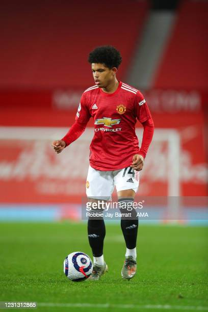 Shola Shoretire of Manchester United makes his debut during the Premier League match between Manchester United and Newcastle United at Old Trafford...