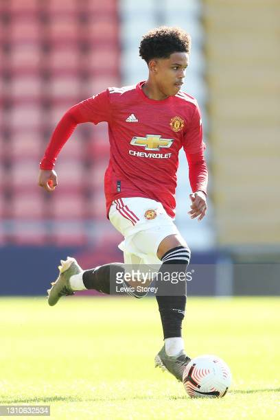 Shola Shoretire of Manchester United runs with the ball during the FA Youth Cup Fourth round match between Manchester United and Liverpool at Leigh...