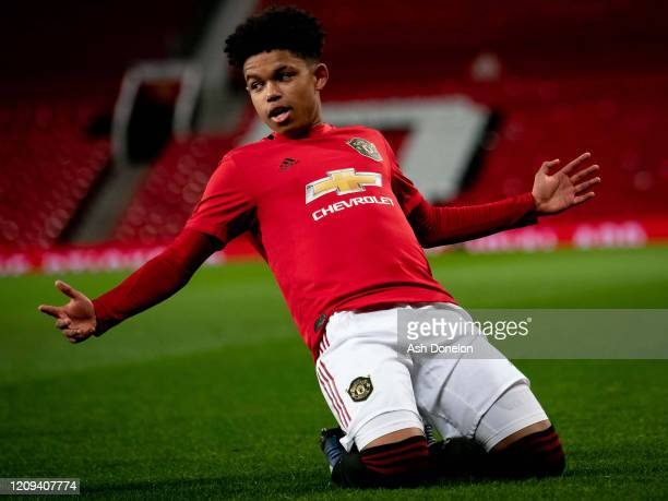 Shola Shoretire of Manchester United U18s celebrates scoring their first goal during the FA Youth Cup: Sixth Round match between Manchester United...