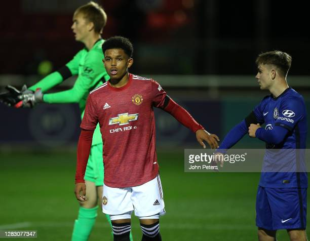 Shola Shoretire of Manchester United U18s in action during the FA Youth Cup semi-final match between Manchester United U18s and Chelsea U18s at St...