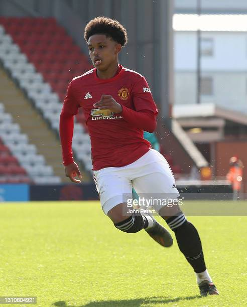 Shola Shoretire of Manchester United U18s in action during the FA Youth Cup match between Manchester United U18s and Liverpool U18s at Leigh Sports...