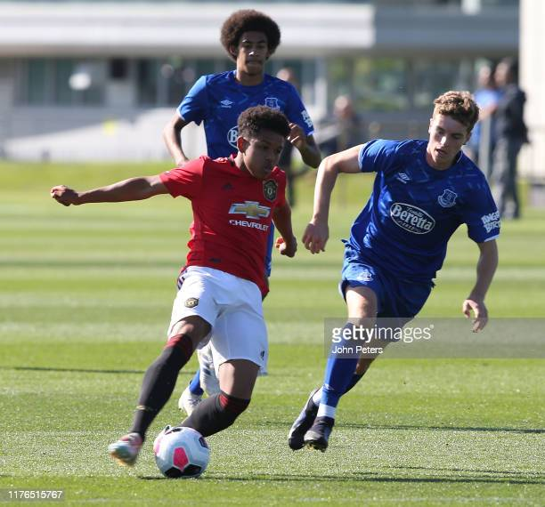 Shola Shoretire of Manchester United U18s in action during the U18 Premier League match between Manchester United U18s and Everton U18s at Aon...