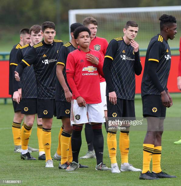 Shola Shoretire of Manchester United U18s in action during the U18 Premier League match between Manchester United U18s and Wolverhampton Wanderers...