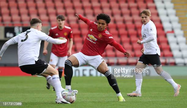 Shola Shoretire of Manchester United U23s in action during the Premier League 2 match between Manchester United U23s and Derby County U23s at Leigh...