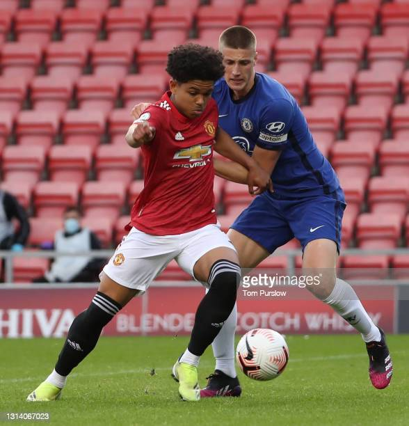Shola Shoretire of Manchester United U23s scores their first goal during the Premier League 2 match between Manchester United U23s and Chelsea U23s...
