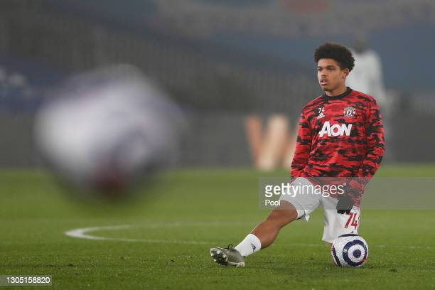 Shola Shoretire of Manchester United warms up prior to the Premier League match between Crystal Palace and Manchester United at Selhurst Park on...