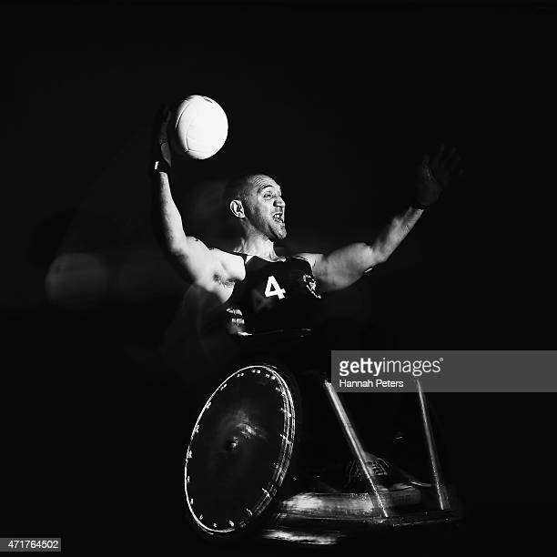 Sholto Taylor of the Wheelblacks poses for a photograph during a New Zealand Wheelchair rugby portrait session on May 1 2015 in Auckland New Zealand