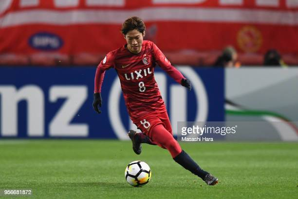 Shoma Doi of Kashima Antlers in action during the AFC Champions League Round of 16 first leg match between Kashima Antlers and Shanghai SIPG at...
