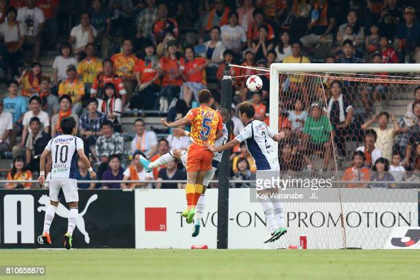 Shoma Kamata of Shimizu SPulse heads the ball to score his side's second goal during the JLeague J1 match between Shimizu SPulse and Gamba Osaka at...