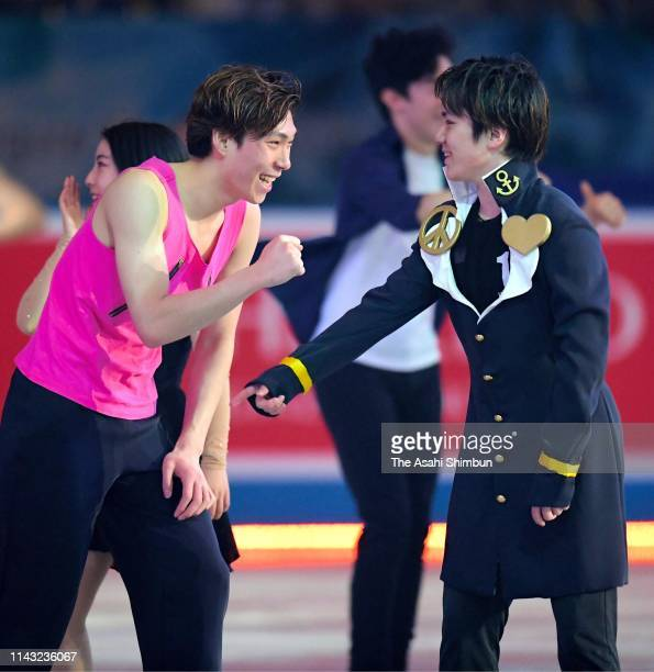 Shoma Uno and Keiji Tanaka of Japan are seen after the Gala Exhibition on day four of the ISU Team Trophy at Marine Messe Fukuoka on April 14 2019 in...