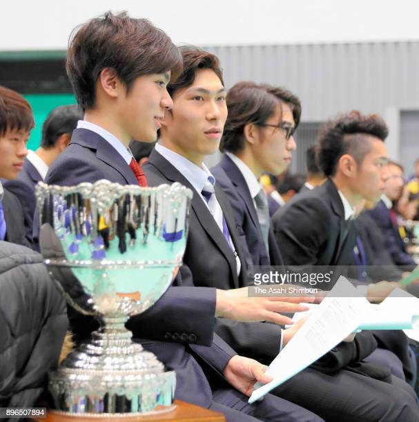 Shoma Uno Keiji Tanaka and Takahito Mura attend the draw ahead of the 86th All Japan Figure Skating Championships at the Musashino Forest Sports...