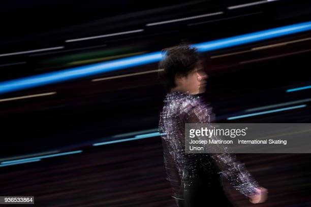 Shoma Uno of Japan competes in the Men's Short Program during day two of the World Figure Skating Championships at Mediolanum Forum on March 22, 2018...