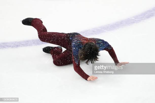 Shoma Uno of Japan falls during his performance during the Men's Short Program during ISU World Figure Skating Championships at Ericsson Globe on...