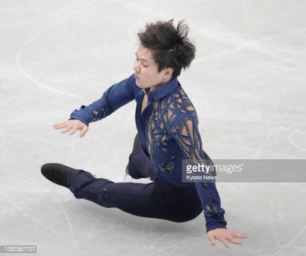 Shoma Uno of Japan falls on a jump in the men's free skate at the World Team Trophy figure skating competition at Maruzen Intec Arena Osaka on April...