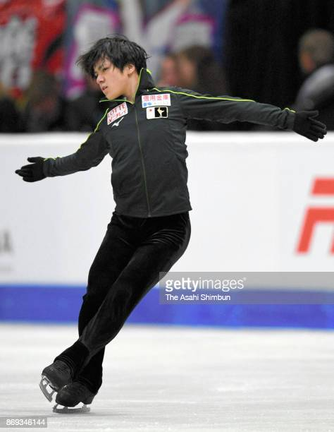 Shoma Uno of Japan in action during a practice session prior to the Men's Singles Short Program during day one of the ISU Grand Prix of Figure...