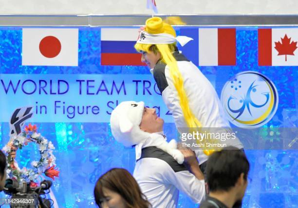 Shoma Uno of Japan is lifted by Tim Koleto prior to RikuMiura and ShoyaIchihashi of Japan competing in the Pair Free Skating on day three of the...