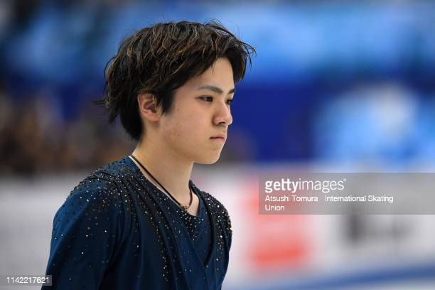 Shoma Uno of Japan is seen prior to competing in the Men's Single Free Skating on day two of the ISU Team Trophy at Marine Messe Fukuoka on April 12...