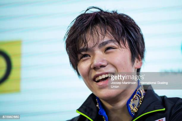Shoma Uno of Japan looks on at the kiss and cry in the Men's Free Skating during day two of the ISU Grand Prix of Figure Skating at Polesud Ice...