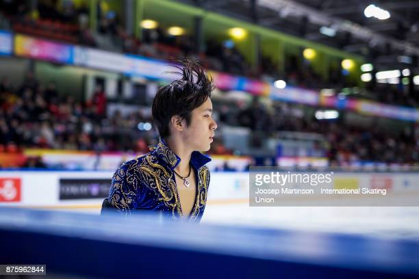 Shoma Uno of Japan looks on in the Men's Free Skating during day two of the ISU Grand Prix of Figure Skating at Polesud Ice Skating Rink on November...