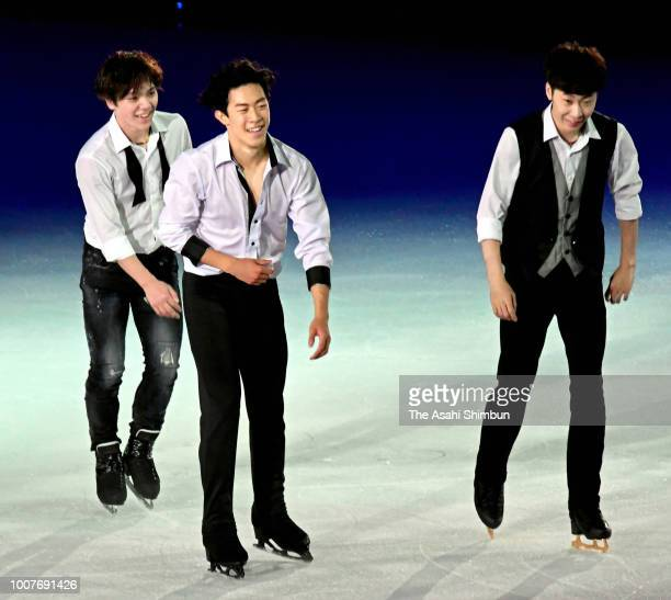 Shoma Uno of Japan Nathan Chen of the United States and Jin Boyang of China are seen after performing during ice show 'The Ice' at Maruzen Intec...