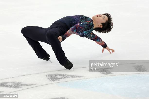 Shoma Uno of Japan performs during the men's short program at the Japan's figure skating national championships in Nagano on December 25, 2020. /...