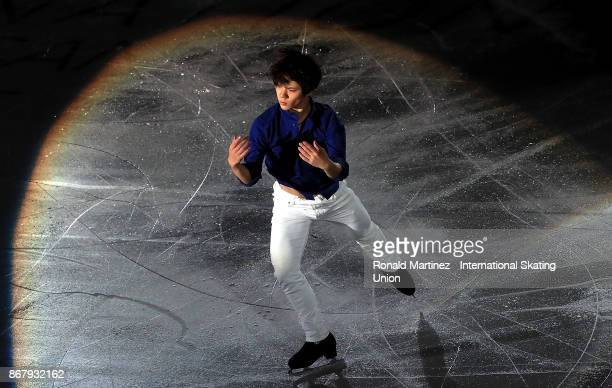 Shoma Uno of Japan performs in the exhibition gala during the ISU Grand Prix of Figure Skating at Brandt Centre on October 29 2017 in Regina Canada