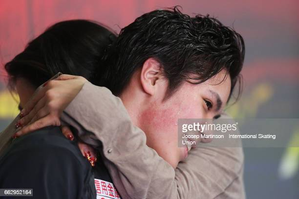 Shoma Uno of Japan reacts at the kiss and cry in the Men's Free Skating during day four of the World Figure Skating Championships at Hartwall Arena...