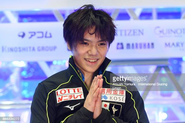 Shoma Uno of Japan smiles at the kiss and cry after the men free skating during the ISU Junior Senior Grand Prix of Figure Skating Final at Nippon...