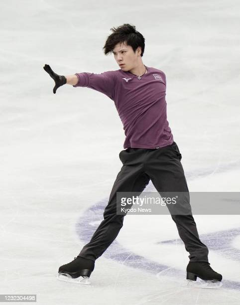 Shoma Uno of Japan takes part in official practice at Maruzen Intec Arena in Osaka on April 14 ahead of the World Team Trophy figure skating...