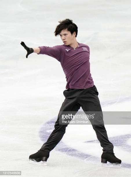 Shoma Uno of Japan takes part in the official practice ahead of ISU World Team Trophy at Maruzen Intec Arena Osaka on April 14, 2021 in Osaka, Japan.