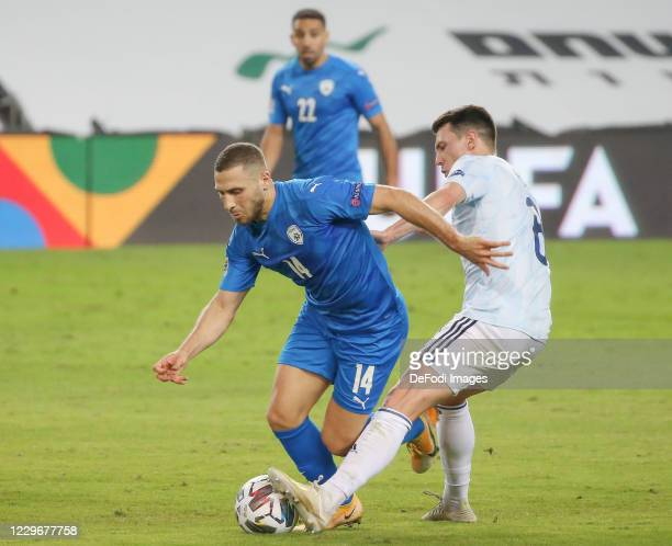 Shon Weissman of Israel controls the ball during the UEFA Nations League group stage match between Israel and Scotland at Netanya Stadium on November...