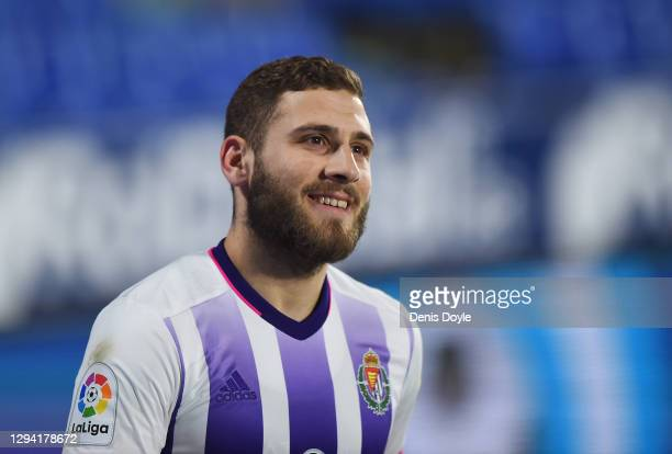 Shon Weissman of Real Valladolid smiles on being substituted late in the second half during the La Liga Santander match between Getafe CF and Real...