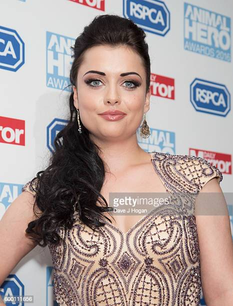 Shona McGarty arrives for Daily Mirror and RSPCA Animal Hero Awards at Grosvenor House on September 7 2016 in London England