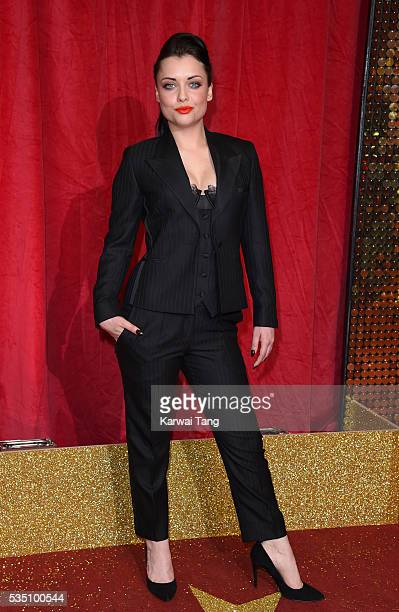 Shona McGarty arrives for the British Soap Awards 2016 at the Hackney Town Hall Assembly Rooms on May 28 2016 in London England