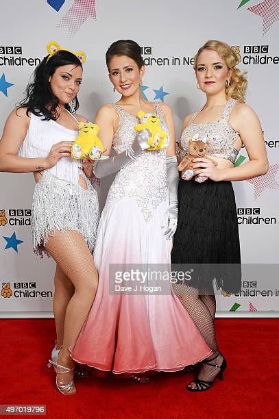 Shona McGarty Jasmine Armfield and Lorna Fitzgerald show their support for BBC Children in Need at Elstree Studios on November 13 2015 in Borehamwood...
