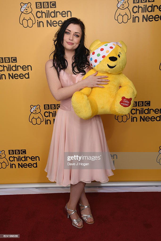 Shona McGarty shows support for BBC Children in Need at Elstree Studios on November 18, 2016 in Borehamwood, United Kingdom.