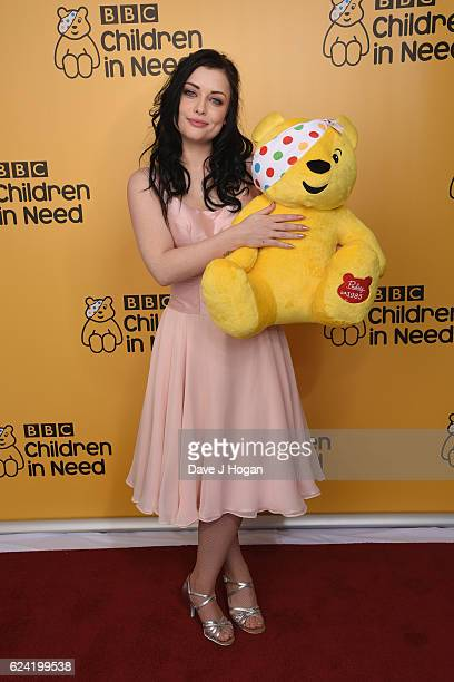 Shona McGarty shows support for BBC Children in Need at Elstree Studios on November 18 2016 in Borehamwood United Kingdom