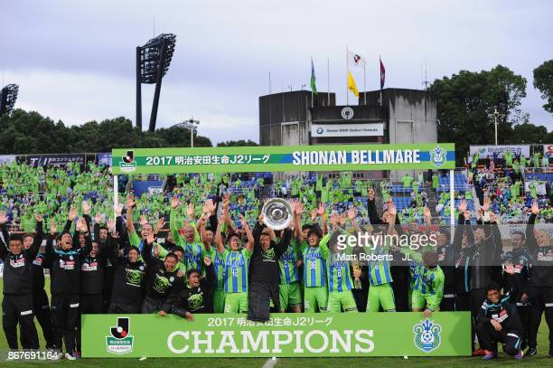 Shonan Bellmare players celebrate their J2 Champions and promotion to J1 after the JLeague J2 match between Shonan Bellmare and Fagiano Okayama at...