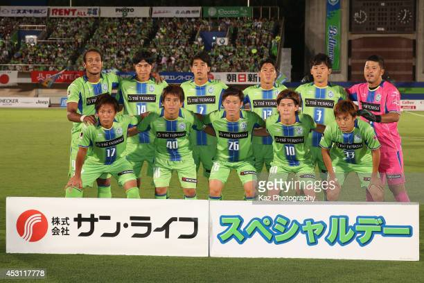 Shonan Bellmare players line up for the team photos prior to the J League second division match between Shonan Bellmare and JEF United Chiba at BMW...