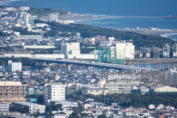 Shonan Ohashi (Shonan Great Bridge) on Sagami River and Sagami Bay in Kanagawa prefecture in Japan