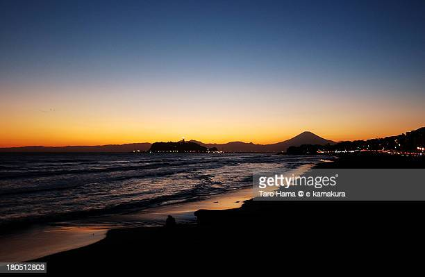 Shonan winter sunset beach and Mt.Fuji