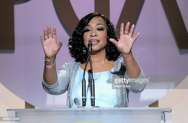 Shonda Rhimes accepts the Norman Lear Achievement Award onstage at the 27th Annual Producers Guild Awards at the Hyatt Regency Century Plaza on...