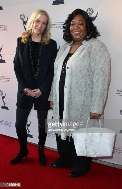 Shonda Rhimes and Betsy Beers at The Academy Of Television Arts Sciences 'Welcome To ShondaLand An Evening With Shonda Rhimes Friends' held at The...