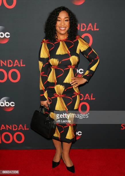 Shonda Rhimes attends ABC's 'Scandal' 100th episode celebration on April 8 2017 in West Hollywood California