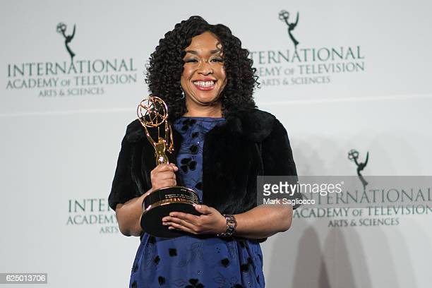 Shonda Rhimes attends the 2016 International Emmy Awards at the New York Hilton on November 21 2016 in New York City