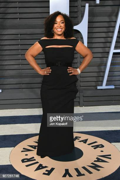 Shonda Rhimes attends the 2018 Vanity Fair Oscar Party hosted by Radhika Jones at Wallis Annenberg Center for the Performing Arts on March 4 2018 in...