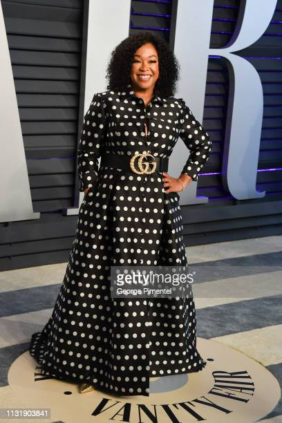 Shonda Rhimes attends the 2019 Vanity Fair Oscar Party hosted by Radhika Jones at Wallis Annenberg Center for the Performing Arts on February 24 2019...
