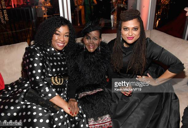 Shonda Rhimes, Cicely Tyson, and Ava DuVernay attend the 2019 Vanity Fair Oscar Party hosted by Radhika Jones at Wallis Annenberg Center for the...